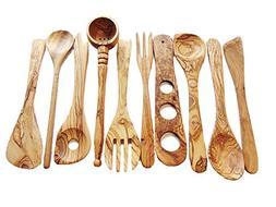 merr' Olive-Wood-Spoon Utensils Set of 10: 1 olives ladle, 2