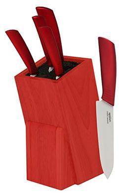 Melange 6-Piece Metal Red Handle and White Blade Ceramic Kni