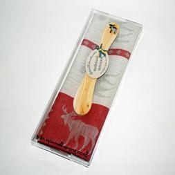 Moose Towel & Butterknife Gift Set - Red