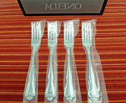 New Oneida Stainless Flatware TRUE ROSE Set of 4 Dinner Fork