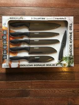 NIB CUISINART CLASSIC METALLIC BLACK STAINLESS KNIVES GUARDS