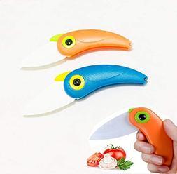 2PCS Parrot Ceramic Fruit Knife Mini Folding Bird Knife Crea