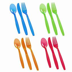 ChefLand 96-Piece Plastic Cutlery Combo Knives/Forks/Spoons,