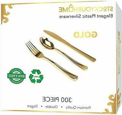 300 Gold Plastic Silverware Set, Disposable Cutlery for Part
