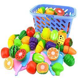 23Pcs Plastic Cutting Toys, YIFAN Fruit Vegetables Cutting T