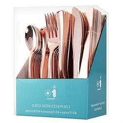 120 Piece Plastic Silverware Set, Rose Gold Plastic Cutlery,