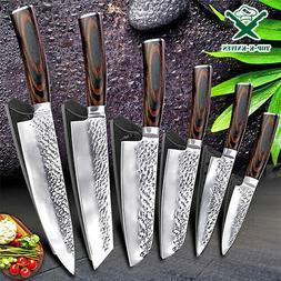 Pro Kitchen Knives Set Damascus Japanese Pattern Chef Stainl