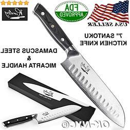 "Professional 7"" Santoku Vegetable Kitchen Knife Damascus Ste"