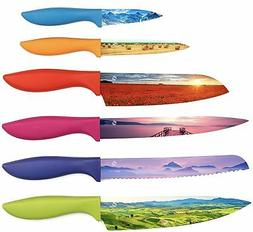 Set of 6 Landscape Kitchen Chef's Knives - Beautifully Desig