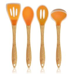 Silicone Kitchen/Cooking Utensil 4pc Set with Beechwood Hand