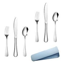 Silverware Set - 6 Piece Cutlery Set Serve for 2, Healthy Fl