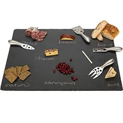 "20"" x 14"" Extra Large Slate Cheese Board and Stainless Steel"