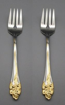 Oneida Stainless GOLDEN AMARYLLIS  Serving Forks - Set of Tw