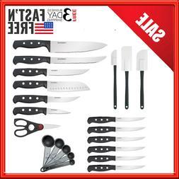 Farberware Stainless Kitchen Knife Sharpening Chef Wood Stea