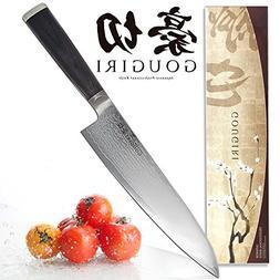 GOUGIRI Authentic Japanese Damascus 8 Inch Chef Knife, Profe