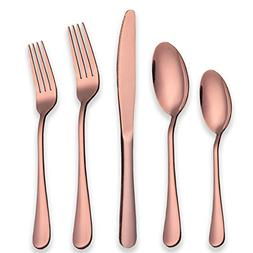 Berglander Stainless Steel Copper Color Flatware Set Rose Go