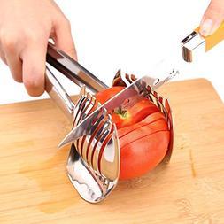 Stainless Tomato Slicer Holder Lemon Cutter Fruit Vegetable