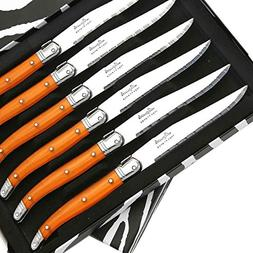 Set of 6 Laguiole steak knives ABS orange direct from France