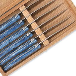 Set of 6 Laguiole steak knives blue color plexiglass handles