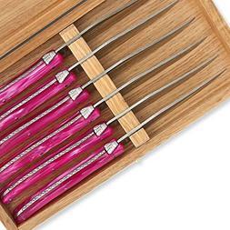 Set of 6 Laguiole steak knives pink color plexiglass handles