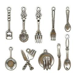 98 PCS Tableware Charms Collection - Antique Silver Baking C