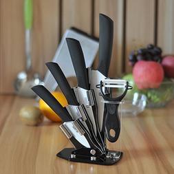 Tim Home 5ps Cuchillos Negros de Ceramica con Pelador y Base