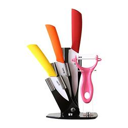Tim Home 4 Pieces Multi Color Ceramic Cutlery Kitchen Knives