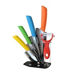 Tim Home 5 Pieces Multi Color Ceramic Cutlery Kitchen Knives