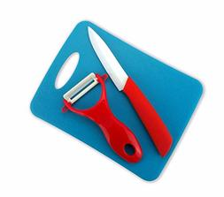Tim Home 3 Pieces Red Handle Ceramic Cutlery Kitchen Knife 4