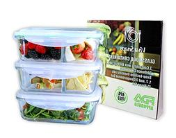 Versatile 3 Glass Meal Prep Container Set w/1, 2 and 3 Compa