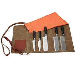 12 Oz Waxed Canvas Chef's Knife Roll Up Storage Bag Waterpro