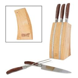 Wisconsin Lutheran Laguiole 5 Piece Knife Block Set 'Wiscons