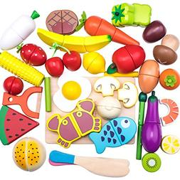 Wooden Cutting Cooking Food Sets, Pretend Play Kitchen Kits