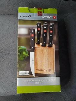WÜSTHOF GOURMET 7-PIECE STEAK KNIFE BLOCK SET-8305  NIB